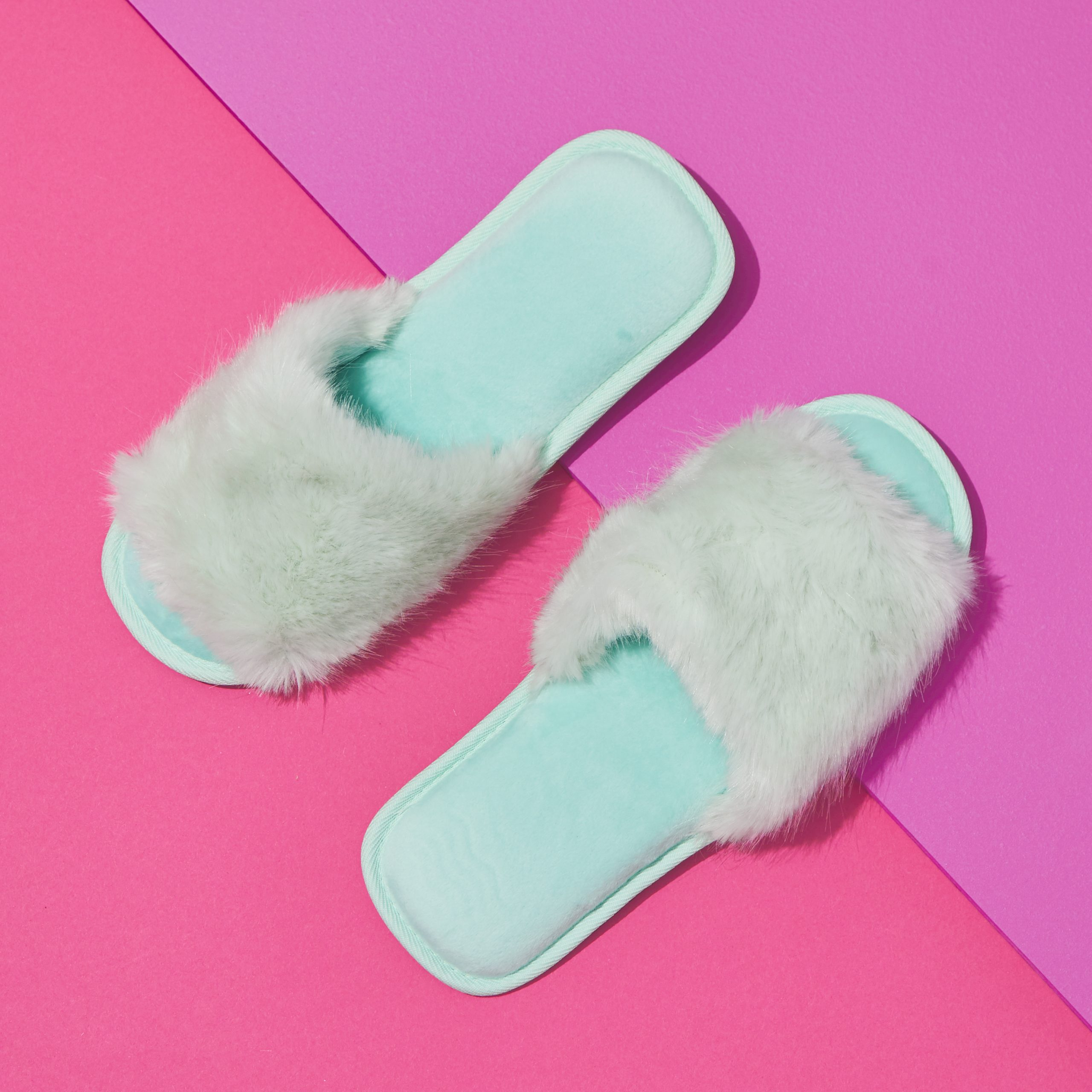 Blue furry slippers