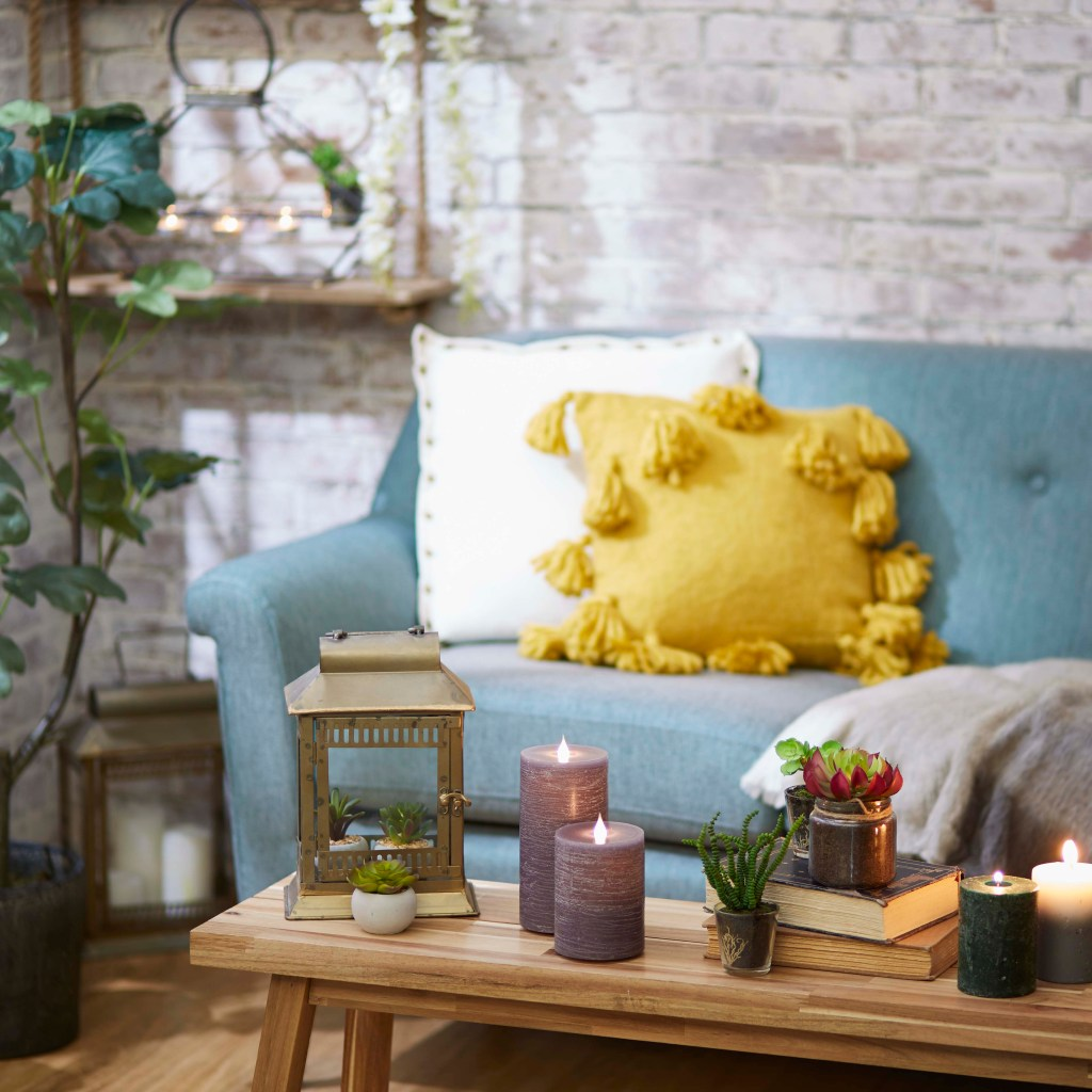 Comfortable chair with candles