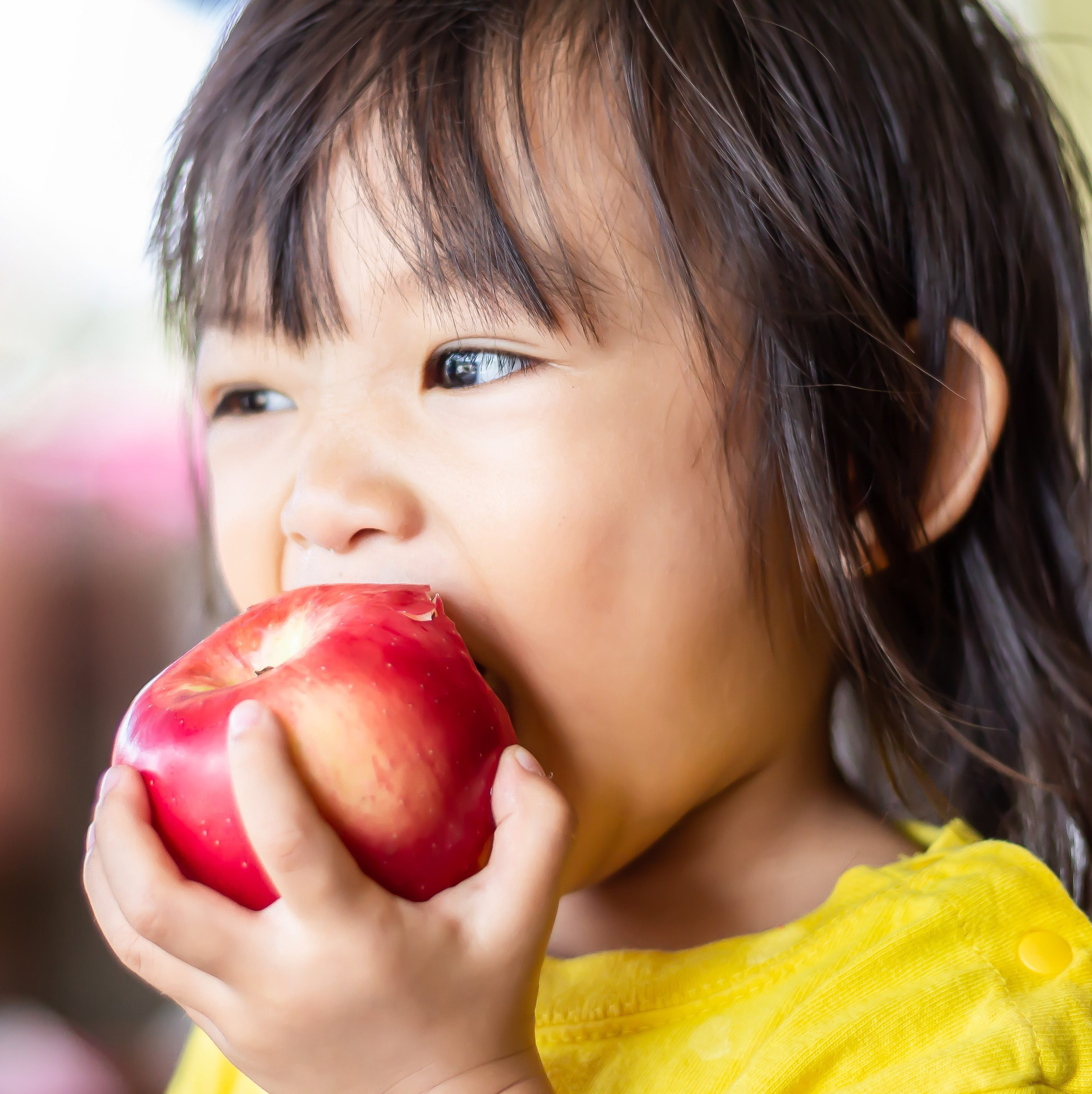 Portrait image of 1-2 years old of baby.  girl eating and biting an red apple. Enjoy eating moment. Healthy food and kid concept.