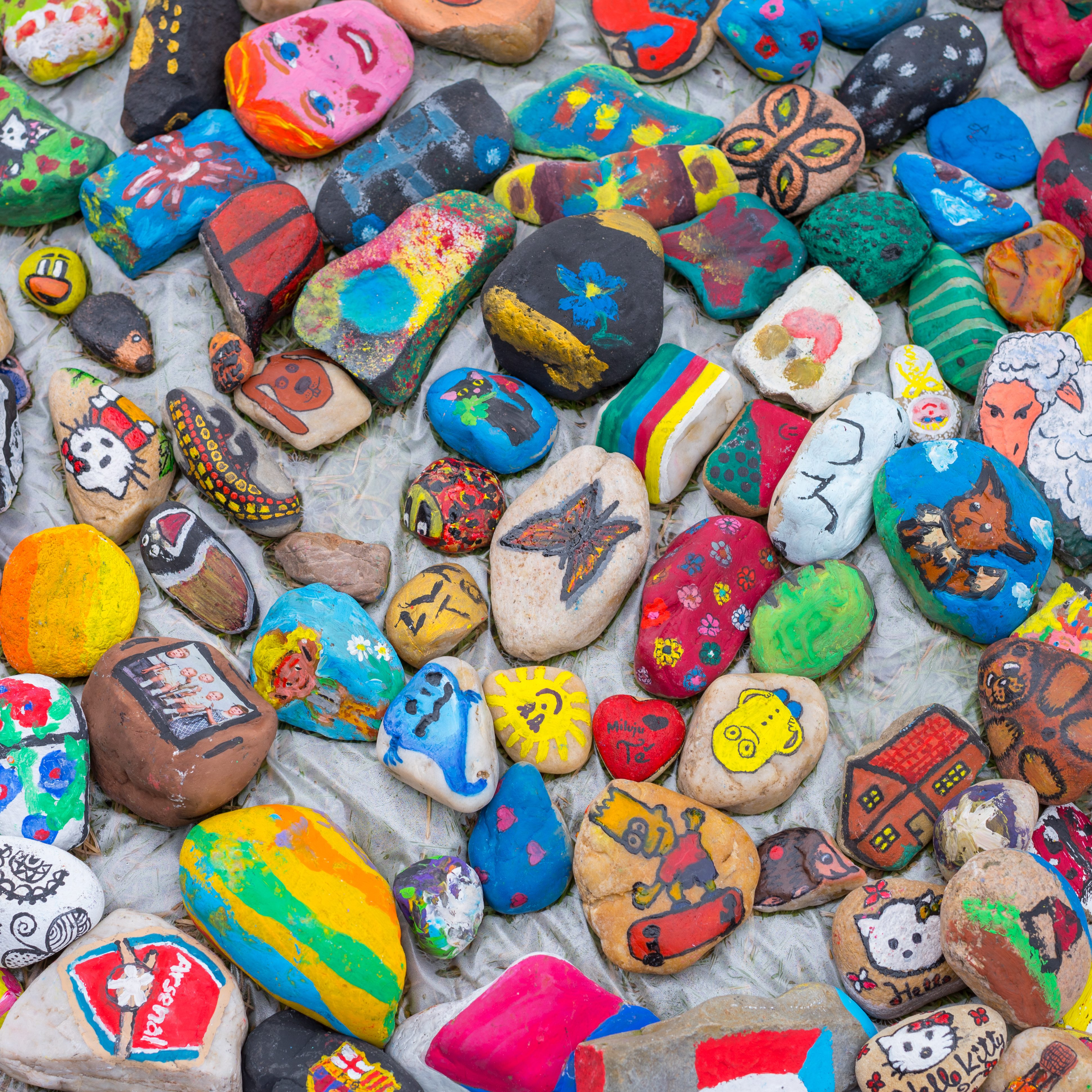 Nice painted colorful pebbles with bright colors.