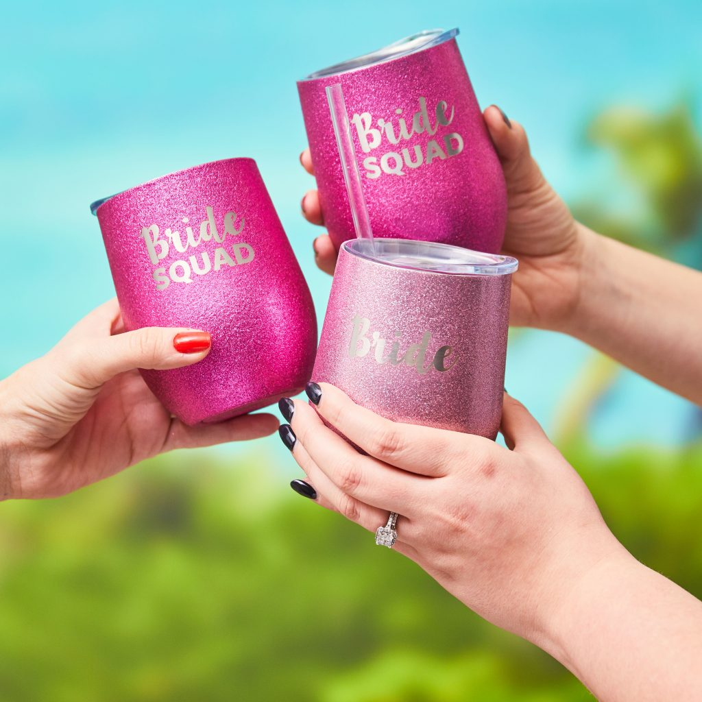 """Pink stemless """"Bride Squad"""" travel wine tumblers"""