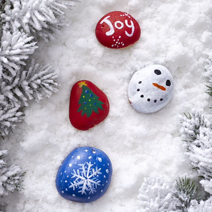 Ideas for holiday decorating include whimsical painted rocks
