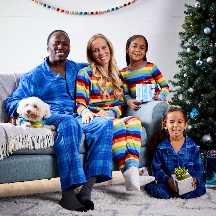 family in matching holiday pajamas