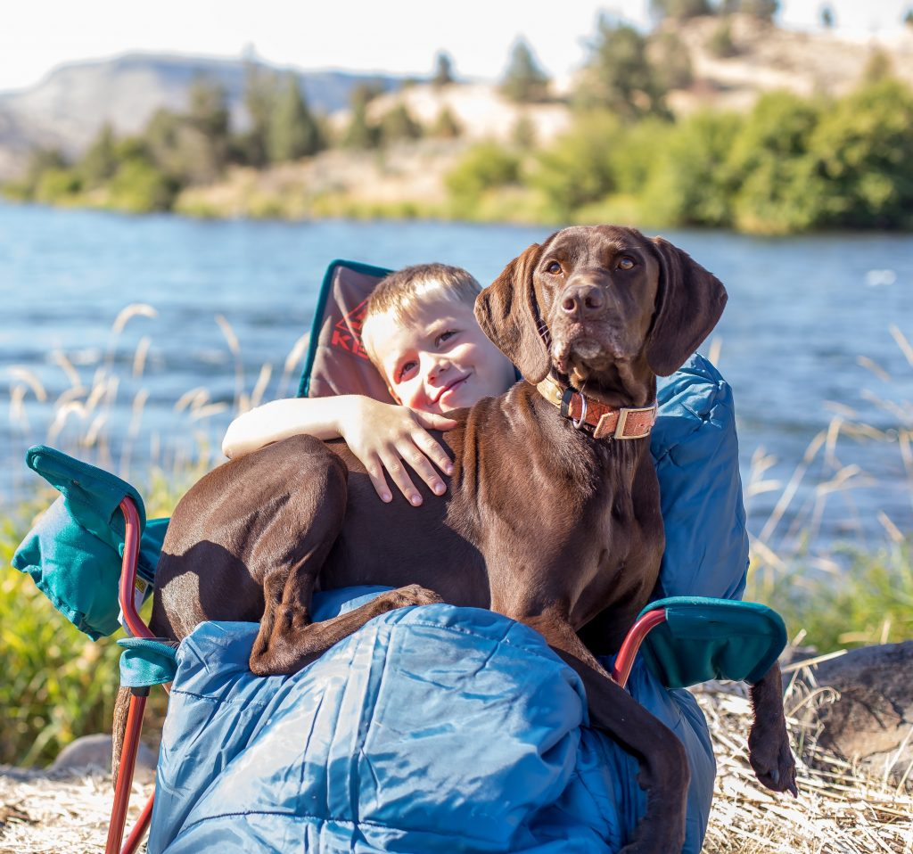 boy and dog sitting in camp chair