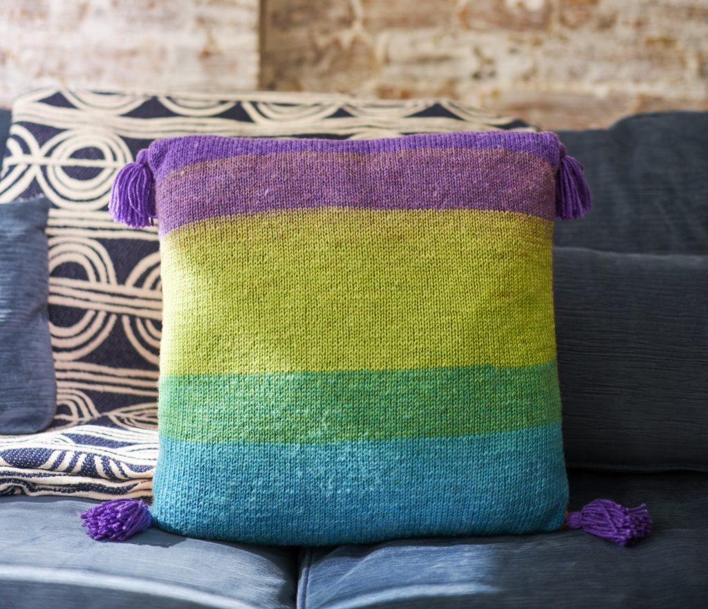 Tassel-Trimmed Knit Pillow Free Knitting Pattern