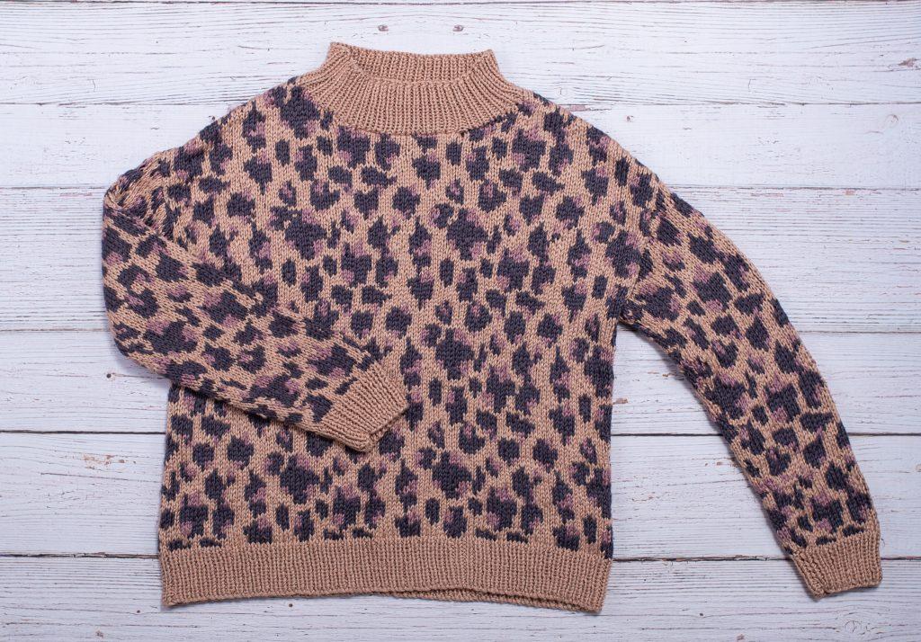 leopard knit mock neck sweater