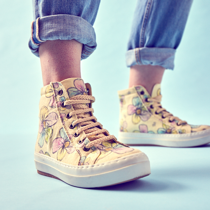 floral high-top sneakers are a style millennials have borrowed from moms