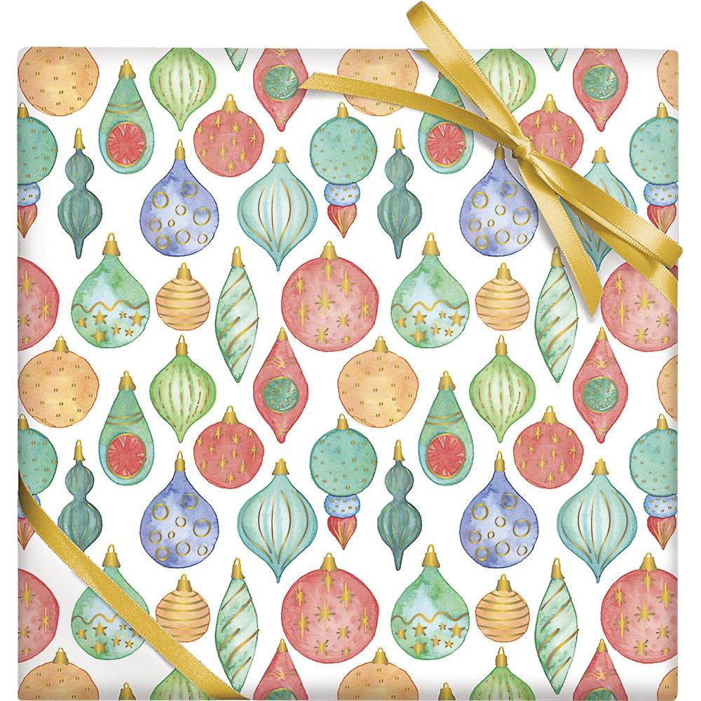 holiday ornaments wrapping paper