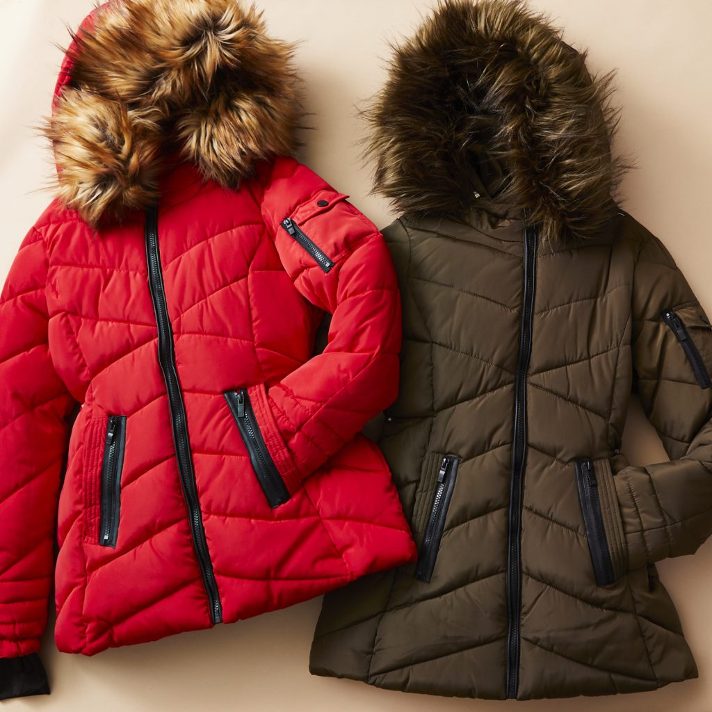 two faux-fur-trim puffer parkas in brown and red