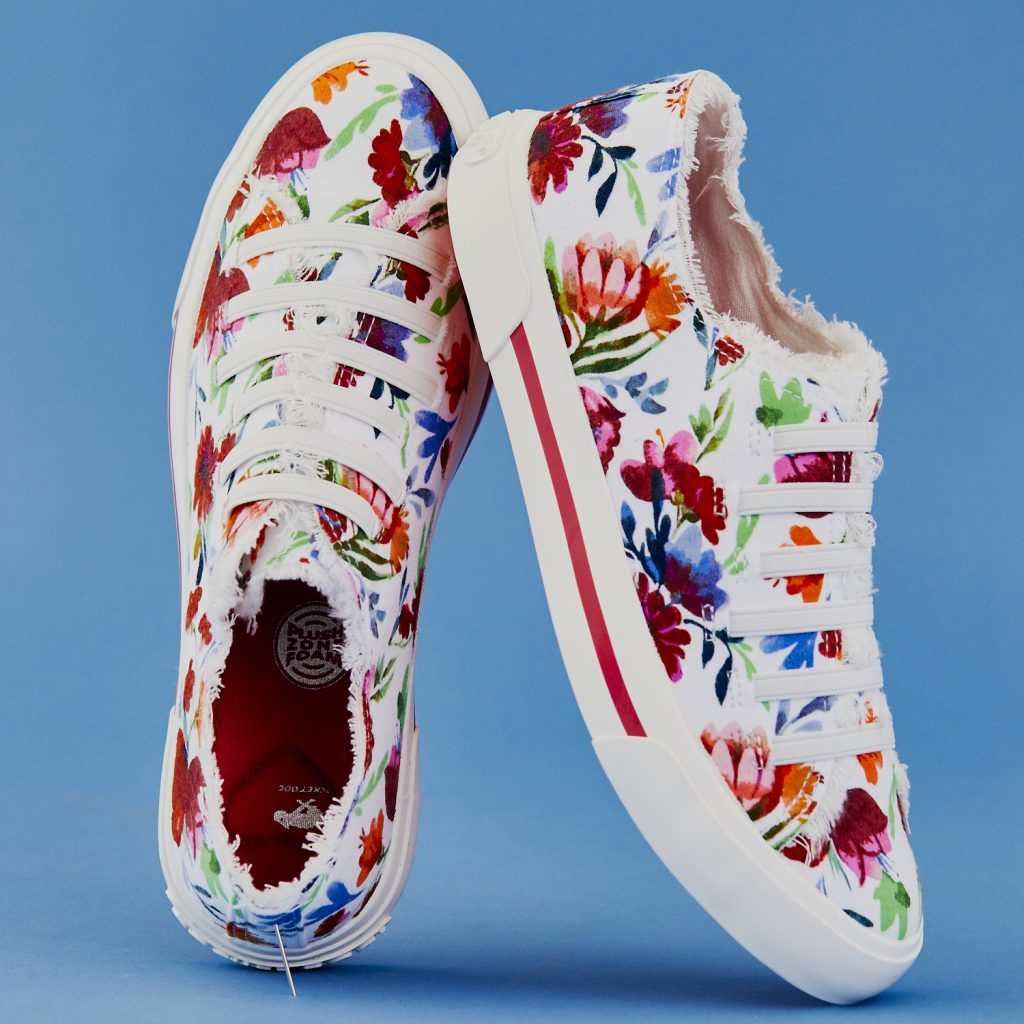 floral sneakers with raw-hem tongues