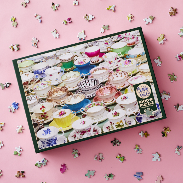 1000-piece puzzle of a tableful of teacups and saucers