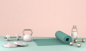 3D render illustration, sport fitness equipment, female concept, yoga mat, bottle of water, dumbbells, weights. A work from home essential routine.