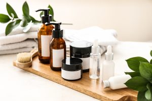 Set of cosmetics for personal hygiene on table. A work from home essential routine.