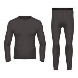 3D or realistic thermal wear front and back view. Black clothing for winter, warm shirt and pants. Blank or empty closeup of sportswear. Ski apparel mockup. Man or woman, men or women long underwear