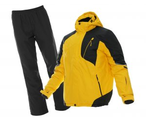 Stylish winter sports clothes on white background. Ski pants and ski jacket.