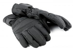 Ski black gloves isolated on white background