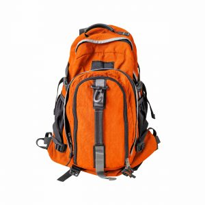 A high-resolution image of an isolated orange-colored rucksack on white background. High-quality clipping path included. Good for hiking or skiing.