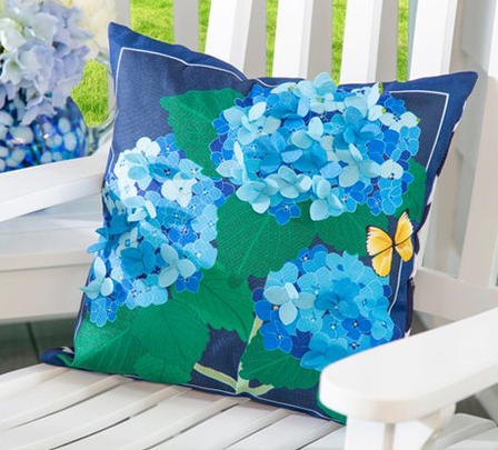 Colorful, floral outdoor throw pillow