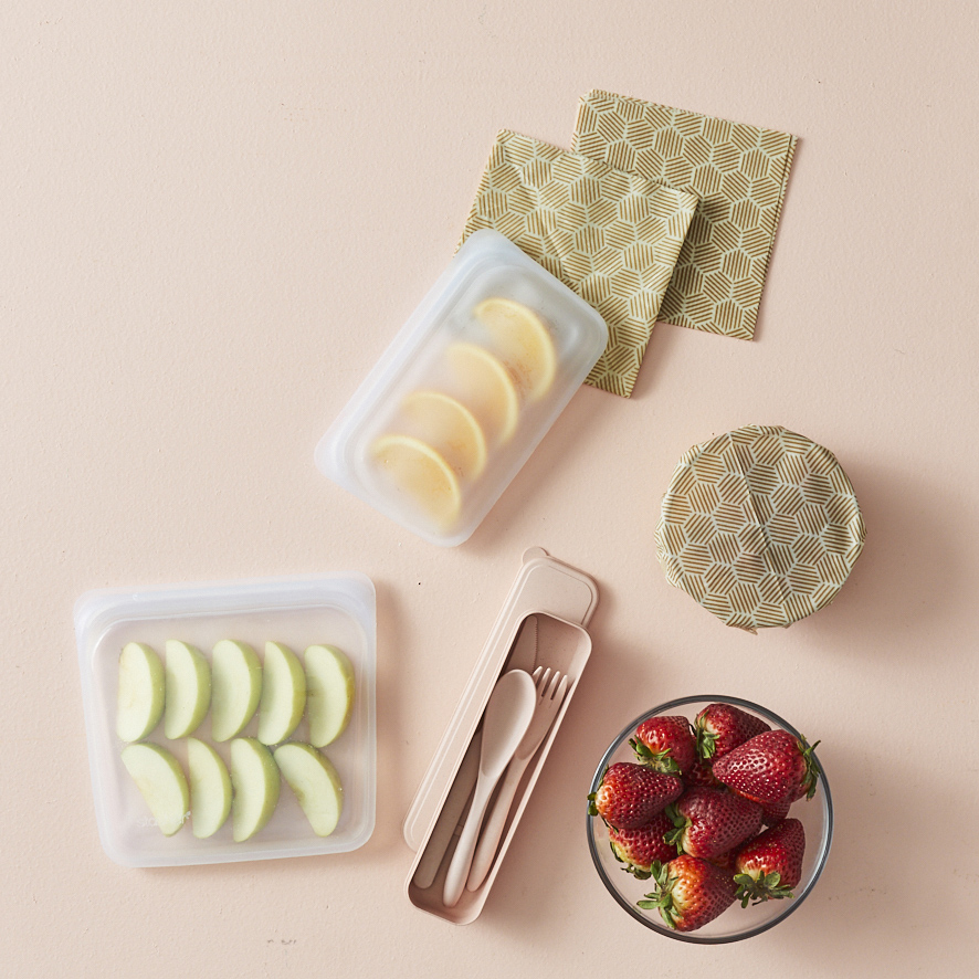 Reusable flatware, snack storage, and beeswax wraps