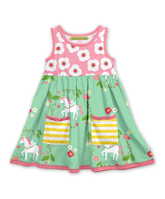 Millie Loves Lily Unicorn Pink and Green Dress