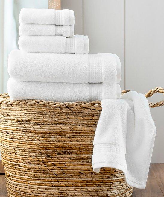 Martha Stewart White Noah Six Piece Towel Set in Basket