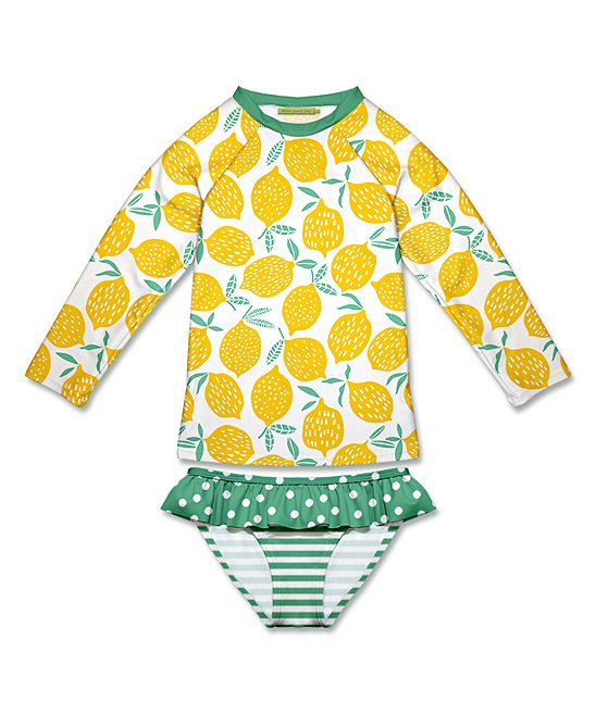 Millie Loves Lily Lemon Rashguard Bathing Suit for Toddlers