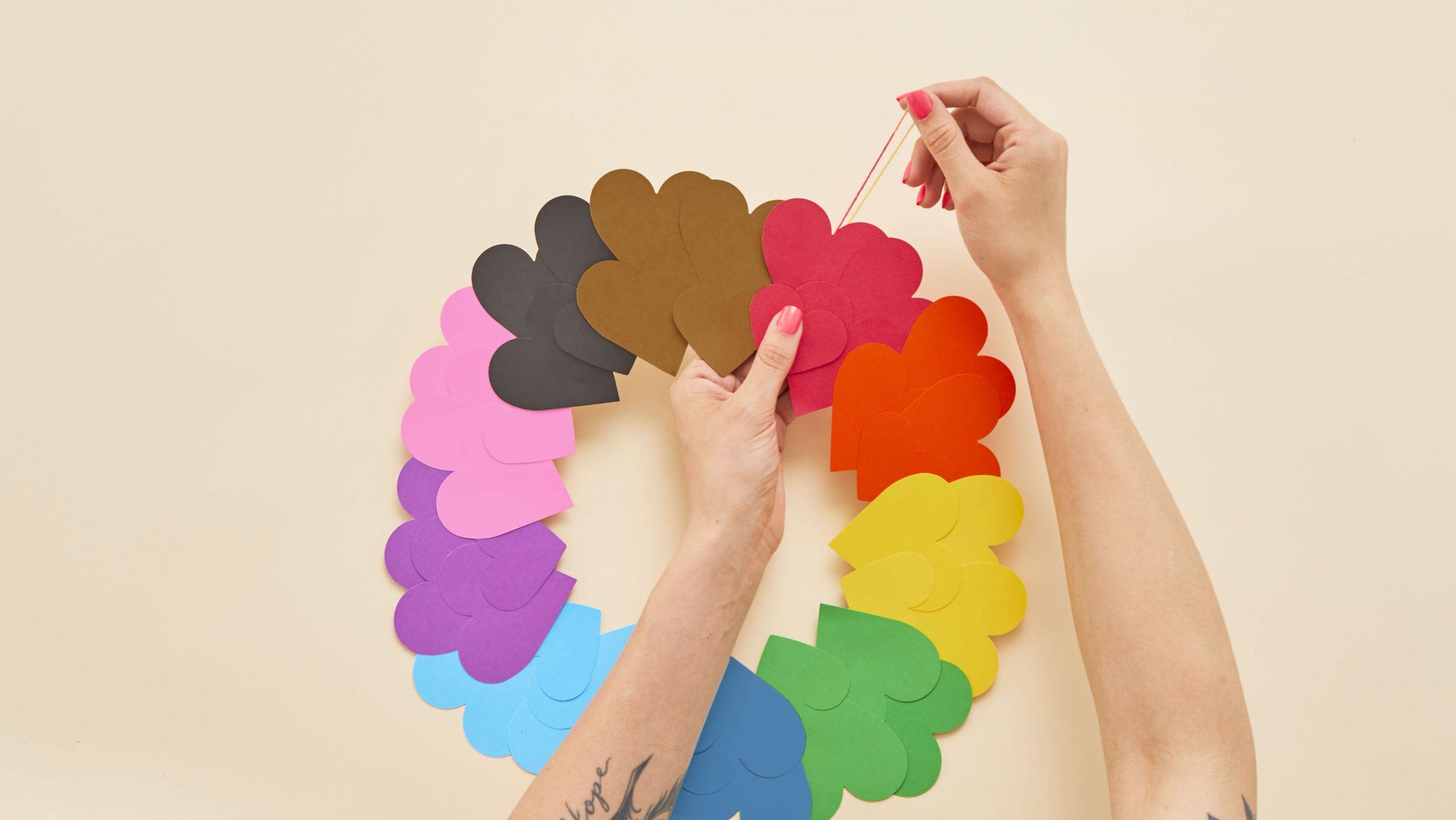 DIY Rainbow Paper Heart Craft