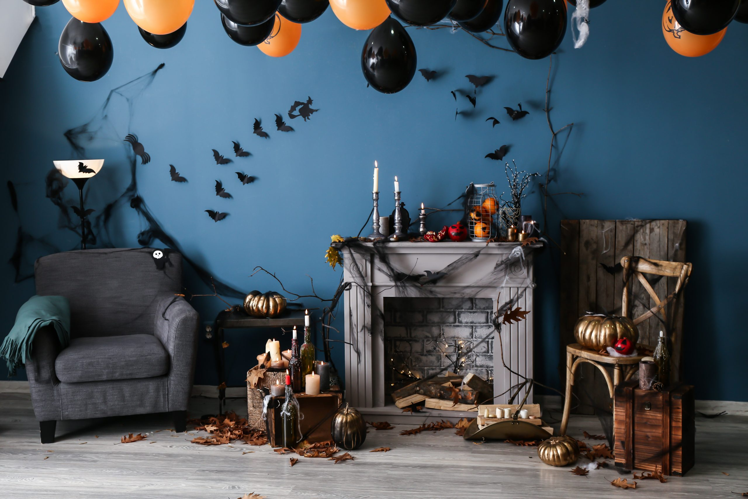 Interior of room decorated for Halloween party